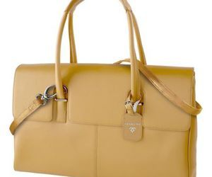 Francine Collections Tan Leather London Laptop Case